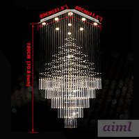 High quality LED K9Crystal Chandeliers Square Pendant Light Lighting Lamps Fixtures AC 100 to 240V Clear K9 Crystal