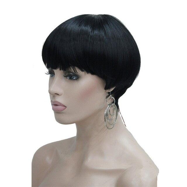 Strong beauty perruque Bob Hair, cheveux courts et lisses, noir et violet, perruque pour femmes, tête de champignon