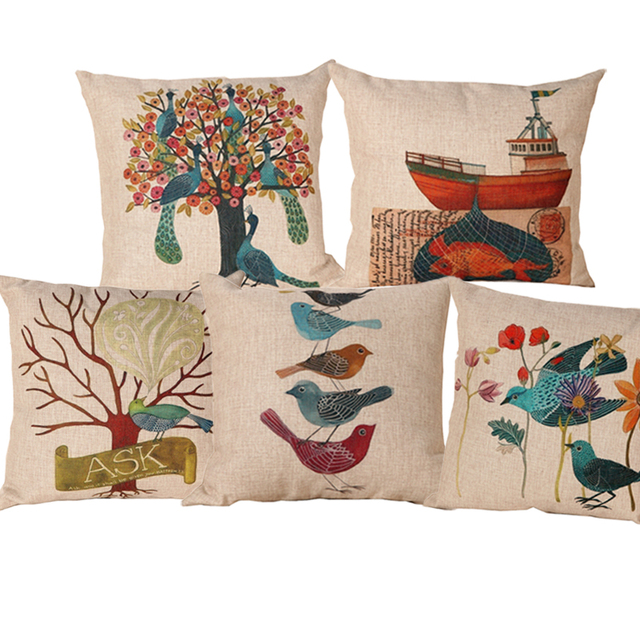 Linen Cotton Blending New Design Printed Seat Cushion Covers Sofa Pillow Case Bedding Pillows Decorative Throw