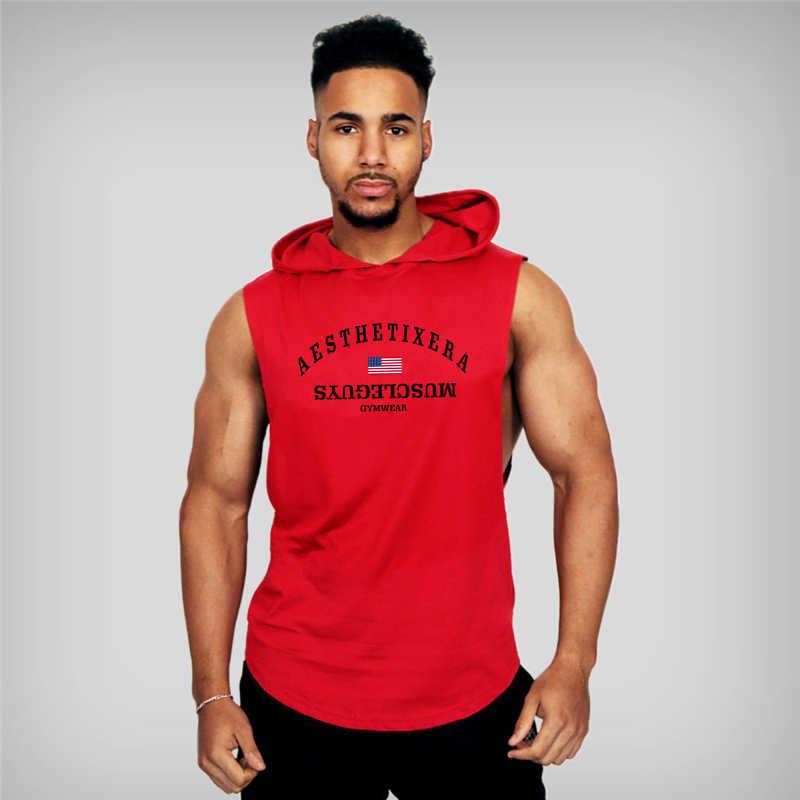 gyms Men Cotton Hoodie Sweatshirts fitness bodybuilding tank top Sleeveless vest