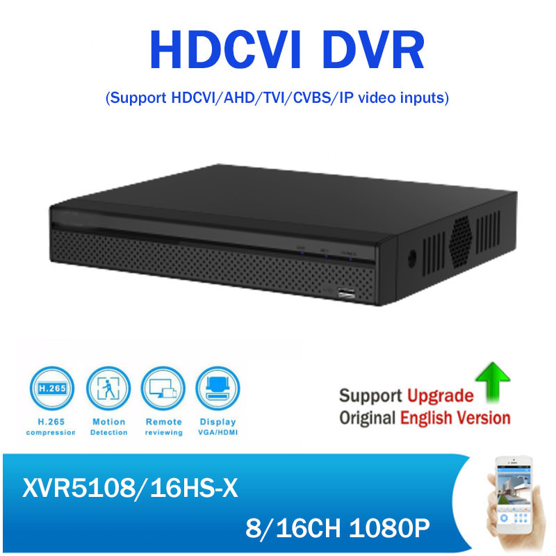 DH XVR5108HS-X XVR5116HS-X 8/16 Channel 1080P Compact 1U Digital Video Recorder support CVI TVI IP video for CCTV System