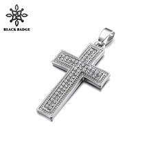 Cross Pendant Necklace for Men Silver Gold Hip Hop Iced Out Bling Rhinestone Stainless Steel Rope Chain Men's Jewelry