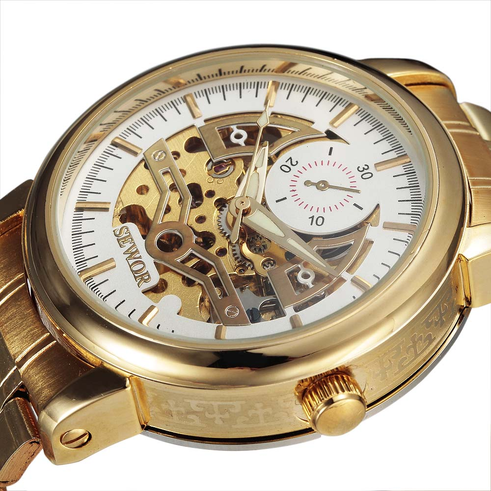 Fashion New Automatic Self-wind Skeleton Mechanical Watch Men Full Steel Mens Watches Top Brand Luxury SEWOR Relogio Masculino men luxury brand casual gold full steel band skeleton automatic self wind mechanical hand wind goden relogio for man wrist watch