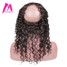 Maxglam Deep Wave Brazilian Hair 360 Lace Frontal Closure Pre Plucked With Baby Hair 100% Remy Human Hair Free Shipping(China)
