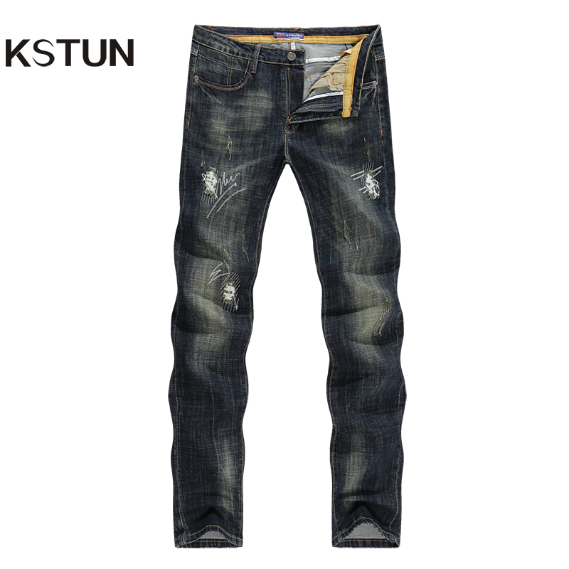 KSTUN Men's Jeans Winter Straight Slim Fit Quality Retro Ripped Jeans Washed Vintage Long Trousers Denim Pants Biker Jeans Male new design mid waist jogger jeans masculino mens pants washed slim fit male cotton straight long denim homme trousers