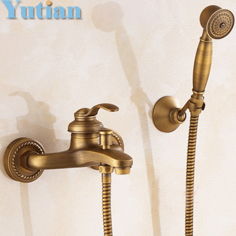 Bathroom Bath Wall Mounted Hand Held Antique Brass Shower Head Kit Shower Faucet Sets YT-5340 antique brushed brass bathroom faucet bath faucet mixer tap wall mounted hand held shower head kit shower faucet sets hf 6656f