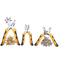3pcs Punch Plier Duty Leather Hole Punch Hand Pliers Belt Holes Punches 200pcs Grommet Setting Tool