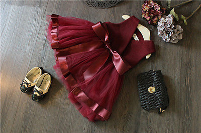 2017 New Kids Baby Princess Girls Dress Party Tulle Bow Gown Brief Cute Formal Fashion mini dress 2 3 4 5 6 7 Years