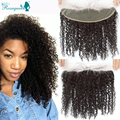 7A Malaysian Kinky Curly Hair Lace Frontal Closure 13x4 Baby Hair Bleached Knots Malaysian Virgin Hair Kinky Curly Lace Frontal