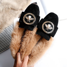 34~43 Plus Size Woman Warm Snow Boots Fur Bee Shoes Genuine Leather Wool Winter Ladies Slip On Flats Moccasins Casual Flat Shoes beau genuine cow leather loafer shoes women new fashion bowknot fur wool lining slip on casual flats 27807
