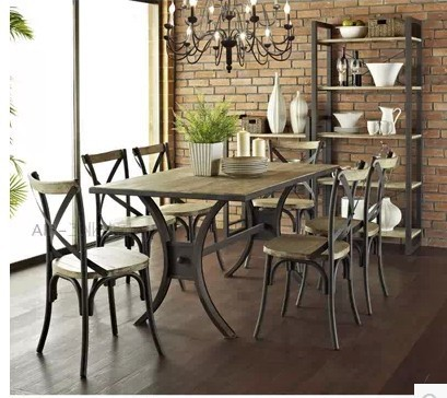 French Rustic Old American Loft Industrial Recycled Wood Tables - Old conference table