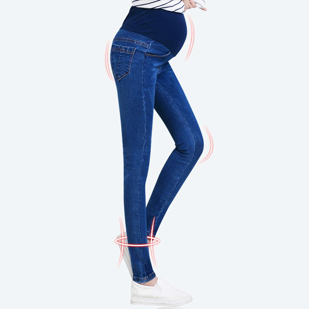 100 Brand New Fashion and Stylish Pregnant Women Elastic Stretchy Cotton Jeans Denim Pencil Pants Maternity