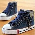 Llegó el nuevo tamaño 25-37 niños shoes de lona para niños zapatillas niños jeans pisos girls botas de denim side zipper casual shoes