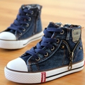New chegou tamanho 25-37 crianças shoes de lona dos miúdos das sapatilhas dos meninos flats meninas botas denim jeans zíper lateral ocasional shoes