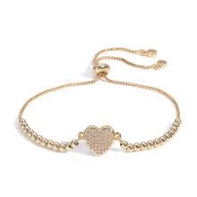 2019 Sweet Love loving couple heart charm Chain Gold Bracelet for women Wedding jewelry Wholesale Silver Jewelry