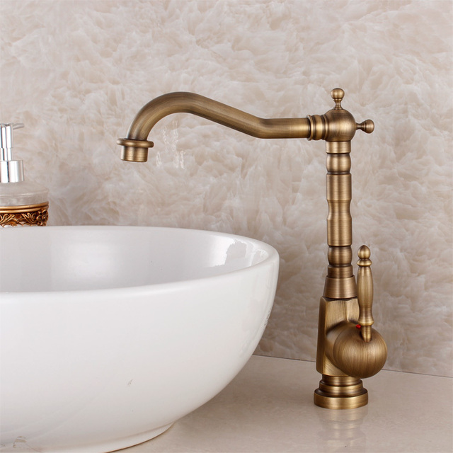 Fashion Bronze Faucet Antique Kitchen Mixer Basin Mixer Vintage Sink Faucet  Tap Vegetables Basin Sink Mixer