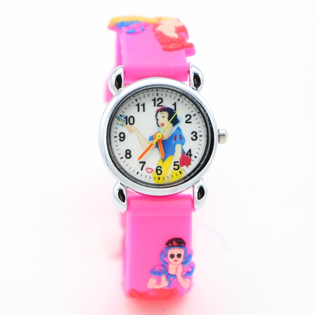 1pcs 3D Cartoon snow White princess fashion fashion silicone kids Watch Children