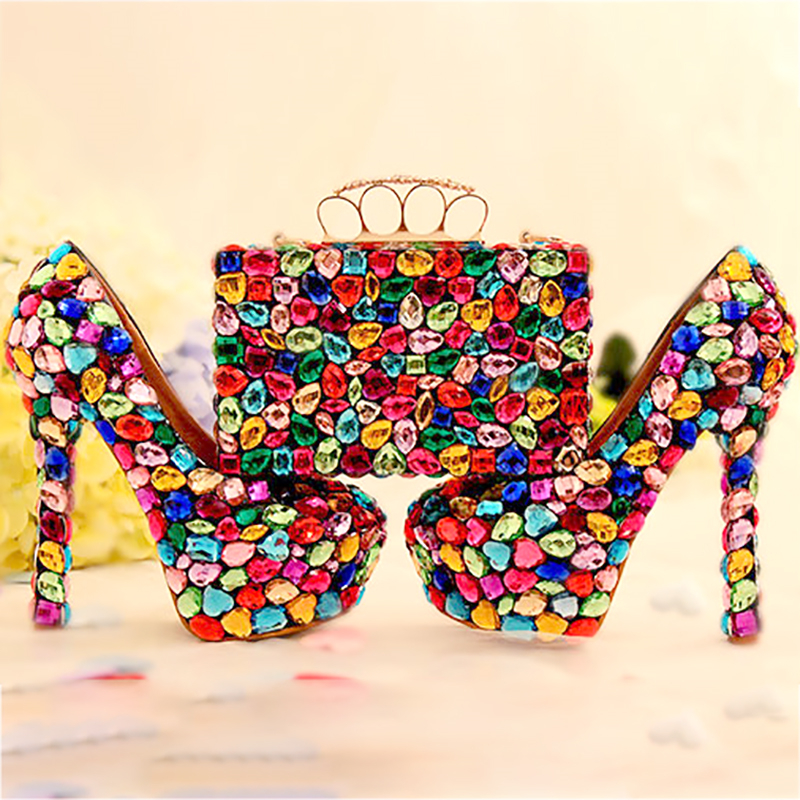 Pumps Women Shoes and Bags to Matching Crystal Purse Wedding Colorful Platform  Bridal Shoes High Heels b2e0d274b7d3