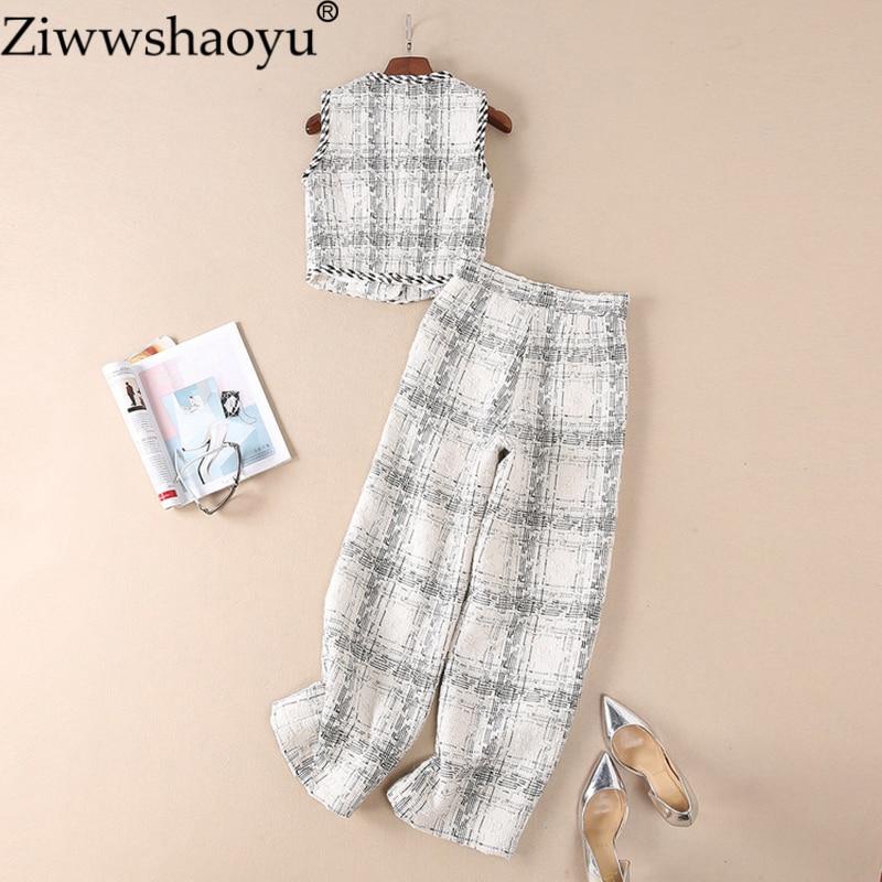 3af96cb68e61 Set Sans Pantalon Ziwwshaoyu Multi Tweed Femmes Ensemble Nouvelle Hiver  Plaid Designer Manches Piste Costume Gilet Automne 8xwnBTqwaY