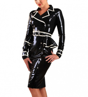 Black Jacket Latex Dress Black Latex Rubber Skirts With Belt
