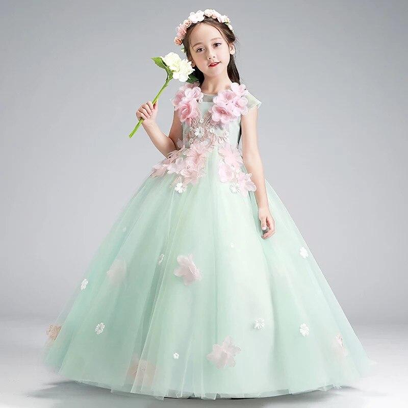 Spring New Kids Girls Sweet Beautiful Hand-made Flowers Birthday Wedding Party Princess Long Dress Model Show Catwalk Host Dress