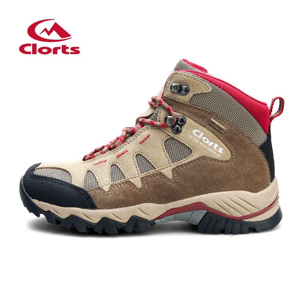 ФОТО New Clorts Men Climbing Shoes Outdoor Boots Suede Leather Hiking Boots Waterproof Non-Slip Beige Men Trekking Shoes HKM-823B