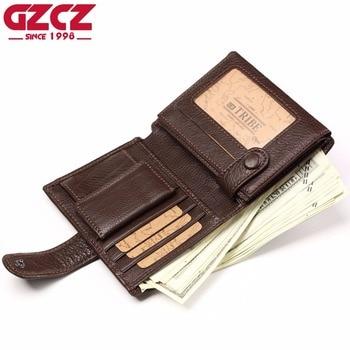 b79429c91 GZCZ carpeta del cuero genuino del monedero masculino Walet estilo moda cartera  hombre delgado Vallet Crazy Horse RFID bloqueo