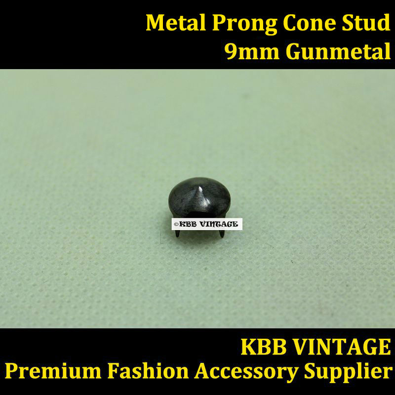 Punk DIY Metal Cone Conical Stud 9mm in Gunmetal with 4 Prong Claws ...