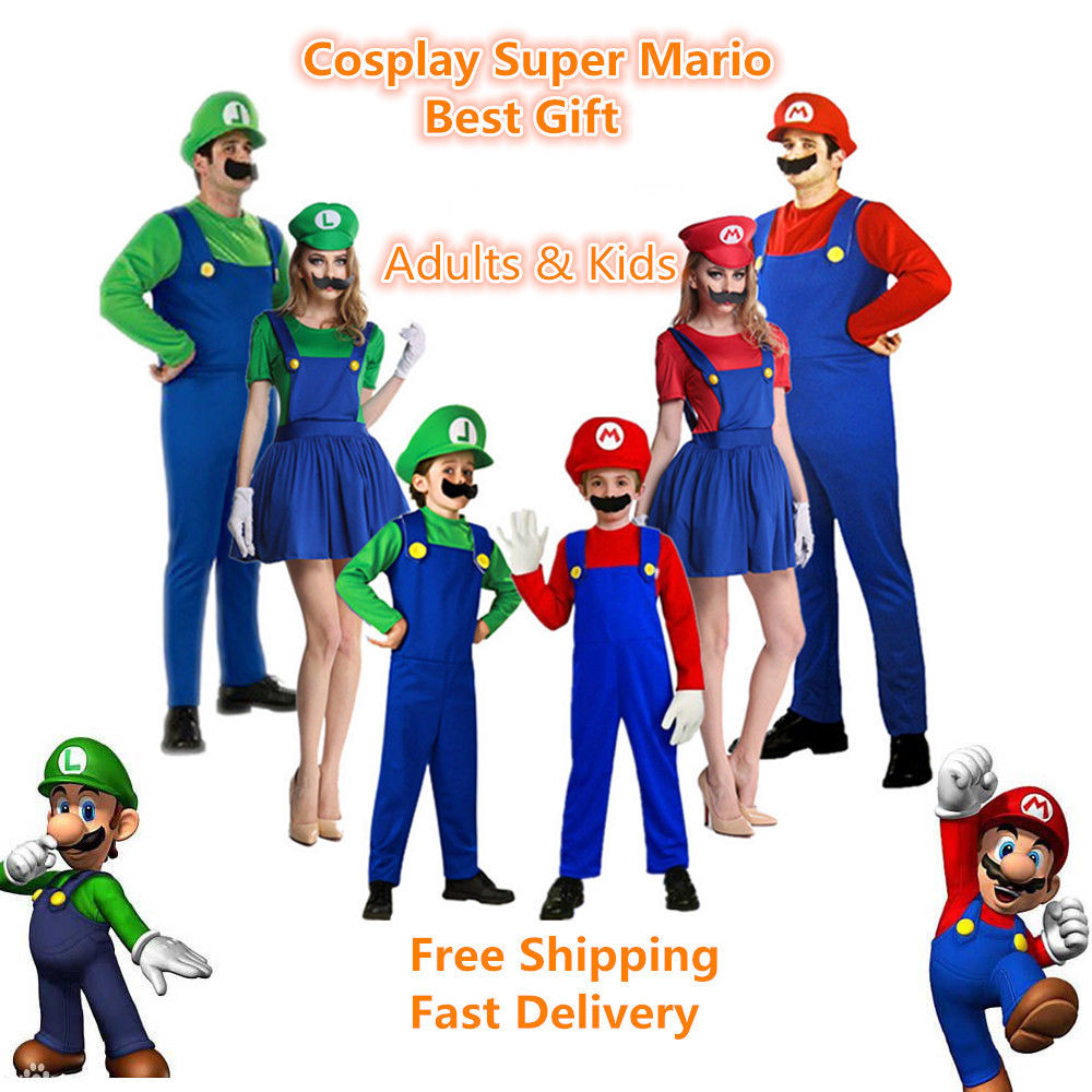 Adlut kids Super Mario Luigi Brothers Unisex Cosplay Costume Hats Mustache Funny Clothing Fancy Dress Jumpsuits Rompers