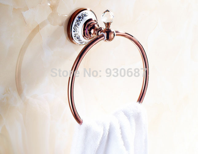 ФОТО Euro Style Rose Gold Bath Wall Mount Towel Rings With Crystal Free Shipping