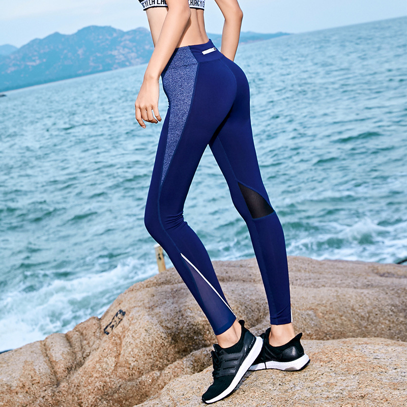 Fitness Yoga Pants Zipper Pocket Reflective Gym Leggings