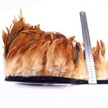 wholesale 10Meters natural chicken feathers trim 13-18cm Dyed Rooster tail Feather ribbon crafts DIY Party feather skirt decor