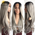 24 inches Long Silver Gray wig Ombre Straight Hair Lace Front Wigs For White Women
