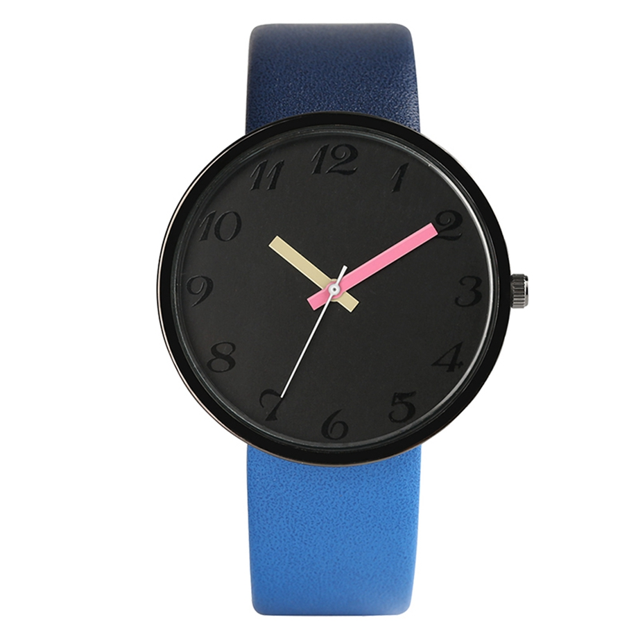 Hot Sale Simple Elegant Quartz Wrist Watch Fashion Blue/Brown/Grey Leather Band Female Gift For Women Casual Sport Watches
