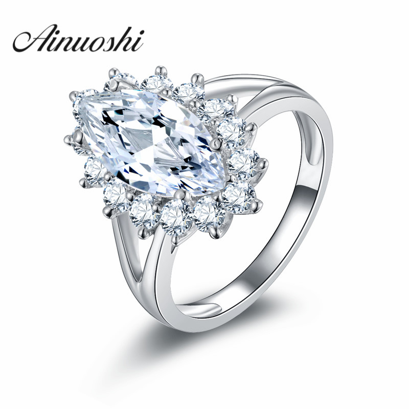 AINOUSHI Vintage 925 Sterling Silver Rings Jewelry Halo Marquise Cut SONA Rings Bijoux Bague for Women Wedding Band vintage cute 925 sterling silver clover cross 7a natural moonstone rings for women wedding engagement jewelry finger bague aneis