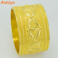 Diameter 6cm 24k Yellow Gold Plated Bangle For Women Ethiopian Big Bracelet African Jewelry Bride Wedding