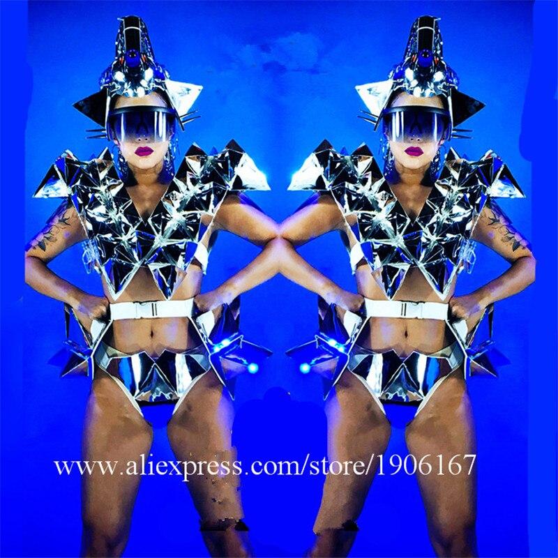 Женский зеркальный головной убор для ночного клуба со светодиодной подсветкой, сексуальный женский зеркальный бикини, танцевальный костюм