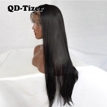 QD-Tizer Straight Middle Part Long Black Synthetic Lace Front Wig