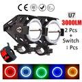 2PCS U7 Cree LED chip Motorcycle Headlight led DRL car Fog light Spot Lamp Angle Eyes + Devil Eyes 12-80V Waterproof 125W 2016