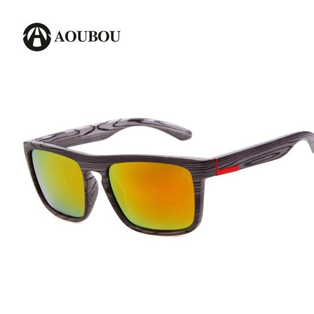 New Imitation Wood Grain Polarized Sunglasses Men Square Red Film Lenses Hot Sport Climbing Glasses Oculos De Sol Masculino 6129