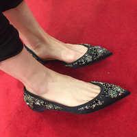 الحرير الشقق النساء أحذية الكريستال الأزياء الأسود 3 سنتيمتر الكعوب المخفية عارضة مكتب السيدات أحذية الانزلاق على جلد طبيعي احذية نسائية