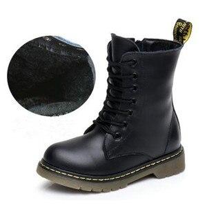 Image 4 - 高ブーツ子供の本革冬の毛皮のアンクルブーツ男の子の幼児ファッションガールズスノーブーツ子供靴