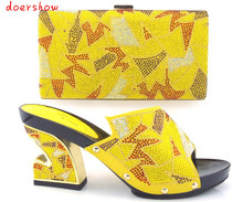 Hermosa doershow! Africano zapatos con bolso a juego para el partido de tarde para sandalia de tacón bajo con bolso a juego del partido vestido! HVZ1-3