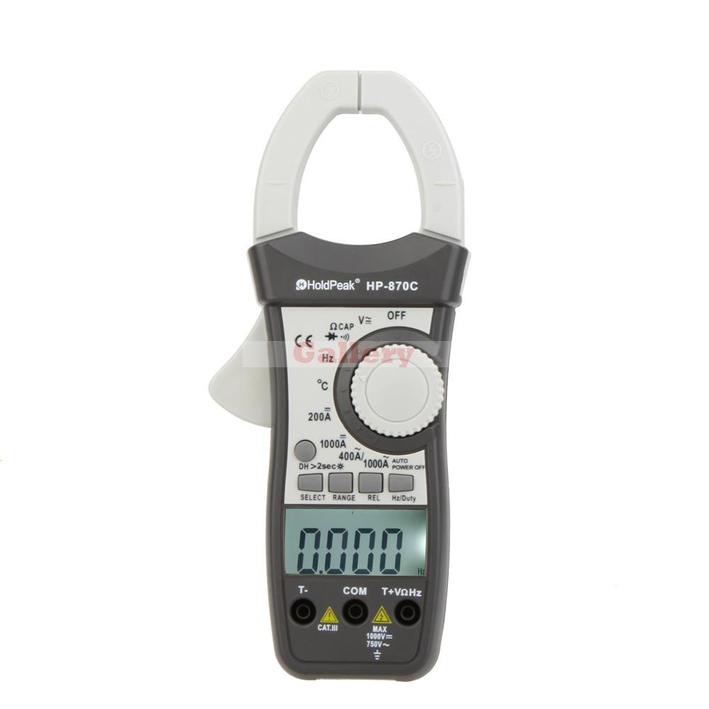 Фотография HoldPeak HP-870C Digtal Dual Display AC/DC Clamp Meter Voltage Current Resistance Frequency Temperature Multimeter
