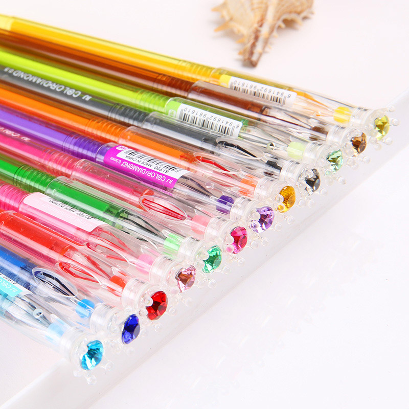 12 Colors / bag Fresh Gel Pens Korean Stationery Diamond Neutral Pen For kids Writing Gift Office School Supplies Free Shipping 10pcs multicolor gel pens set cute korean stationery pen for school office supplies writing with packaged box by free shipping