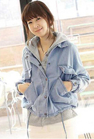New 2015 Spring Autumn Stars Printed Hooded Twinset Plus Size Jaqueta Feminina Denim Outerwear Coat Jeans