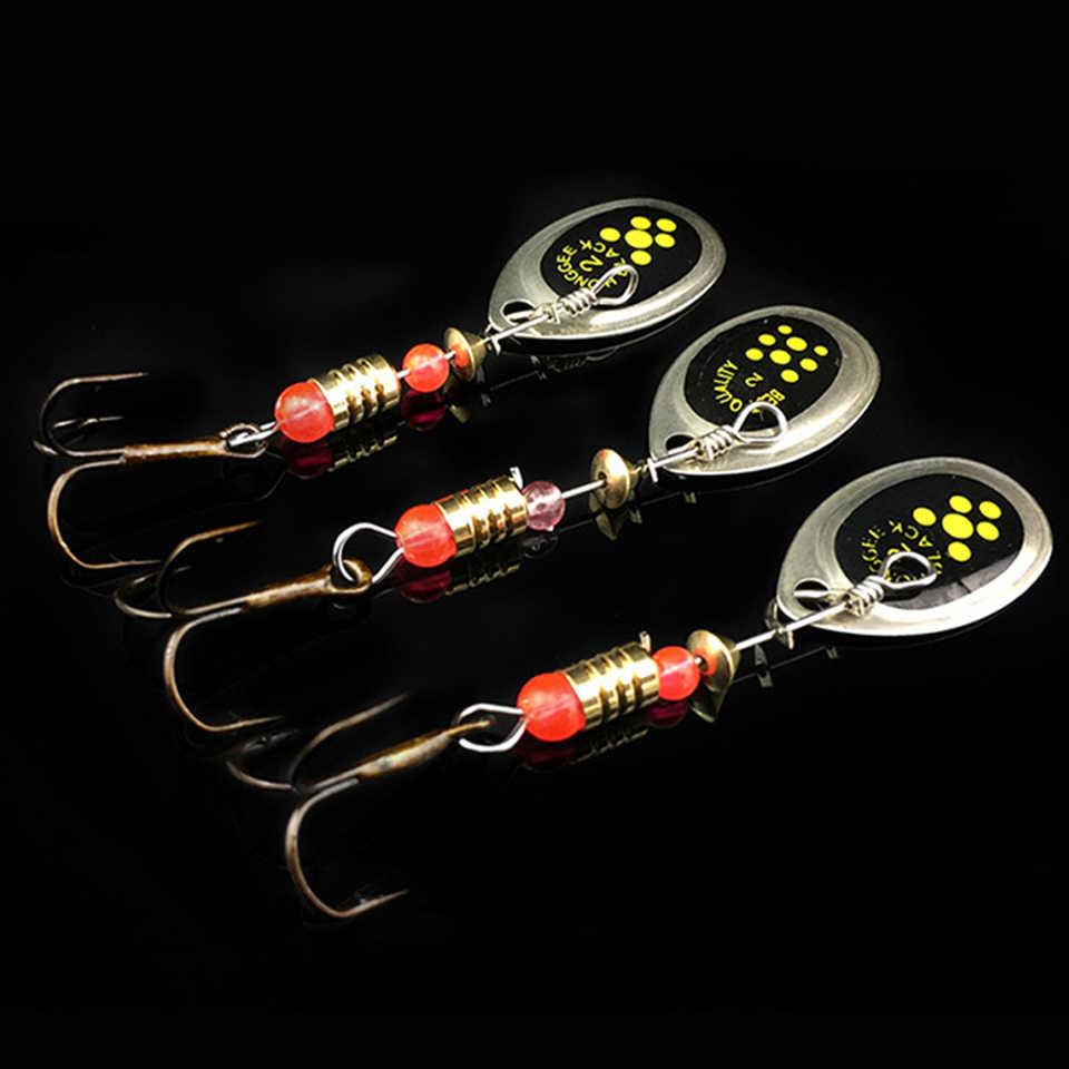 3 pçs/lote 6cm 2.5g isca de pesca gancho spinner colher iscas rotativa metal lantejoulas ganchos isca peche gabarito anzuelos de pesca