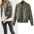 Fashion Women's Coat Pure Color Zipper Jacket Stand Collar Bomber Jacket Female Padded Jacket