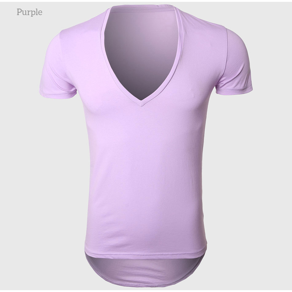 21 Colors Deep V Neck T-Shirt Men Fashion Compression Short Sleeve T Shirt Male Muscle Fitness Tight Summer Top Tees 31