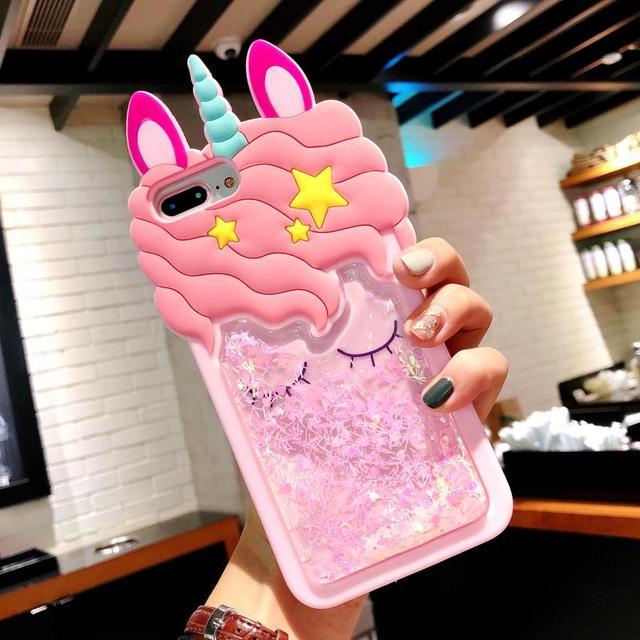 3D Cartoon Quicksand Unicorn Case